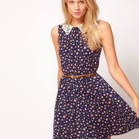 ASOS Skater Dress in Ditsy Print with Crochet Collar at asos.com