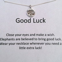 GOOD LUCK  Elephant Sterling Silver Wish Necklace, Good Luck Charm, Elephant Charm, Bridesmaid Gift