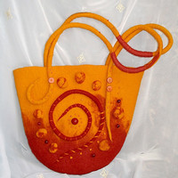 "OOAK felted Bag ""Motifs of Africa"",Red-orange bag,hand crafted, Summer fashion bag,Eco friendly bag, Gift for her"