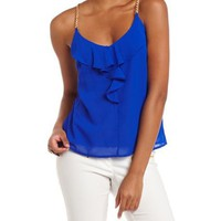 Chain Strap Ruffle Tank: Charlotte Russe