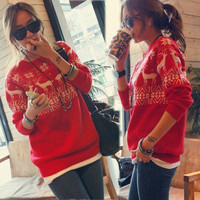 [out of stock] Womens Cute Cartoon Deer Snow Pattern Sweater Knitting Knitwear Knit Top 15M