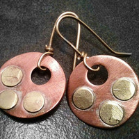 Brass and Copper Hoop Earrings Medium Sized