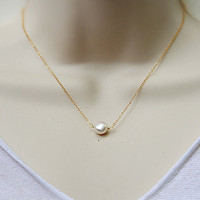 Large white freshwater pearl gold filled  necklace - Bridesmaid wedding necklace - June Birthstone