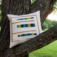 Modern Abstract Pillow, Quilted Pillow Cover, 18x18