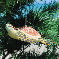 Wooden Sea Turtle Ornaments | OceanStyles.com