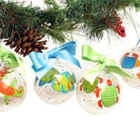 Tropical Christmas Hand Painted Ornaments | OceanStyles.com