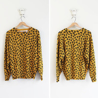 vintage 1980&#x27;s LEOPARD PRINT slouch sweater in amber