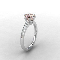 Morganite ring, Diamond, 18k, White gold, Engagement ring, Solitaire, Pink, Diamond engagement, micro pave, unique, vintage style
