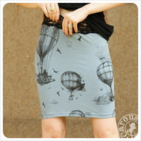 Hot Air Balloon Pencil skirt - Printed skirt - Powder Blue Mini skirt - Black - SMALL