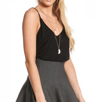 HIGH WAISTED KNIT FLARED SKIRT - CHARCOAL