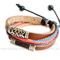 Jewelry bangle leather bracelet men bracelet women bracelet punk bracelet made of leather ropes and metal wrist bracelet  SH-2645