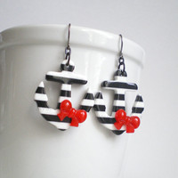 Anchor Earrings. Black and White. Red Bows. Nautical Jewelry. Sailor Girl Costume Accessory. Pin Up Earrings.