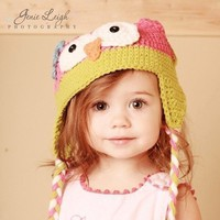 Baby Girl Owl Hat Pink and Green Beanie Crochet Photo by azek2000