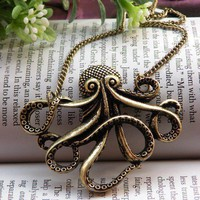 On sales now Pretty retro copper octopus necklace pendant jewelry vintage style