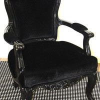 www.roomservicestore.com - Philippe Chair (Glossy Black Lacquer and Faux Black Cowhide)