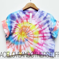 Retro Multi Colour Tie Dye Spiral Crop T-Shirt