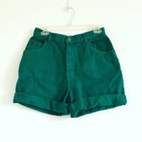 Vintage Emerald Green Denim High Waisted Shorts Sz 30W