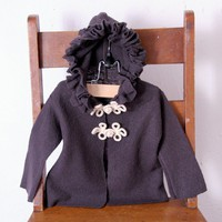 $35 fine felted merino wool baby jacket with ruffled by sandmaiden