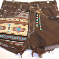 Vintage Levis 501 Brown  Denim Shorts Southwestern  with Beads Waist 28  inch