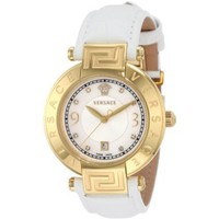 Versace Women&#x27;s 68Q70SD498 S001 Reve 3 H Yellow-Gold Plated Leather Mother-Of-Pearl Diamond Watch - designer shoes, handbags, jewelry, watches, and fashion accessories | endless.com