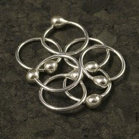 Tiny Silver Hoop Earrings - Teeny Teared Catchless Sleeper Endless Hoop - Ear / Cartilage / Tragus / Helix / Nose Ring