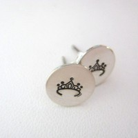 Hand Stamped Personalized Sterling Silver Stud Earrings