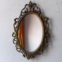 Fairy Princess Mirror - Ornate Vintage Frame in Tarnished Brass - 10 by 7 inches
