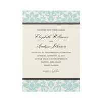 BLUE CLASSY DAMASK | WEDDING INVITATION from Zazzle.com