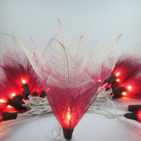 20 Burgundy-White Bodhi Leave Flower Fairy Lights String 3.5M Home Accent Floral Decor