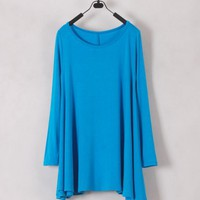 Women Euro Style Long Sleeve Scoop Blue Cotton T-Shirt One Size@WH0127b $11.72 only in eFexcity.com.