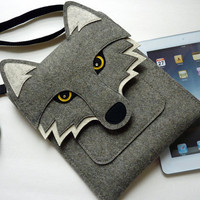 Wolf New iPad and iPad 2 sleeve - Gray felt - MADE TO ORDER