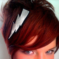 Lightning Bolt Hair Clip Silver Leather Super Hero Wizard Geekery Glam Punk Rocker