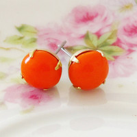 Vintage Tangerine Orange Round Glass Jewel Post Earrings
