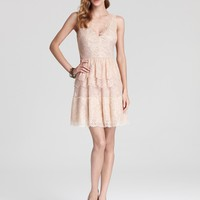 BCBGMAXAZRIA Lace Dress - V Neck Tiered - Contemporary - Bloomingdale's