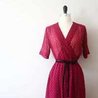 Vintage Japanese Dress Low V 80s Polka Dot Wrapped Dress