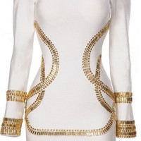 PrettyPinkDazzle — Gold Embellished  Bandage Dress