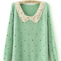 Green Polka Dot Sequins Collar Fluffy Jumper Sweater - Sheinside.com