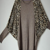 Khaki Leopard Batwing Sleeve Pullovers Sweater - Sheinside.com