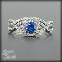 Ceylon Blue Sapphire and Diamond Engagement Ring with Matching Contoured Wedding Band in 14kt White Gold - LS1896
