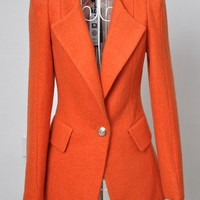 Orange Lapel Long Sleeve Pockets Embellished Suit - Sheinside.com