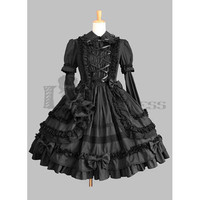 Hot Sale Long Sleeves Bandage Cotton Black Gothic Lolita Dress on Sale [TQL120504029] - 48.59