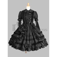 Hot Sale Long Sleeves Bandage Cotton Black Gothic Lolita Dress on Sale [TQL120504029] - £48.59