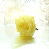 Light Yellow Chiffon Rose Ring Adjustable - Ready To Ship