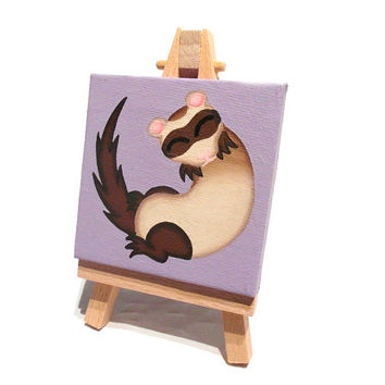 Sleeping Ferret mini painting - acrylic animal art on miniature canvas with easel
