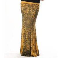 Tabeez Women's Gold Scroll Print Maxi Skirt | Overstock.com