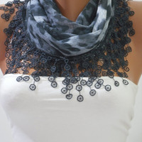 Gray Leopard Cotton Scarf- Shawl Headband - Cowl with Lace Edge
