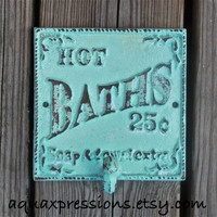 Wall Hook/ Aquamarine/ Bath Towel Rack/ Robe Hook/ Shabby chic/ Bathroom Fixture /Beach Cottage /