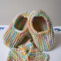 Baby Scarf and Baby Slippers Matching Set in Pastel