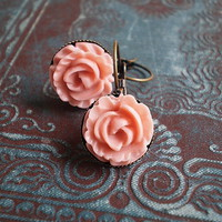 Pink Cabbage Rose Earrings on Luulla