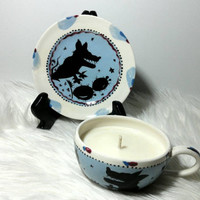 Hand Painted Ceramic Coyote Teacup Scented Soy Wax Candle